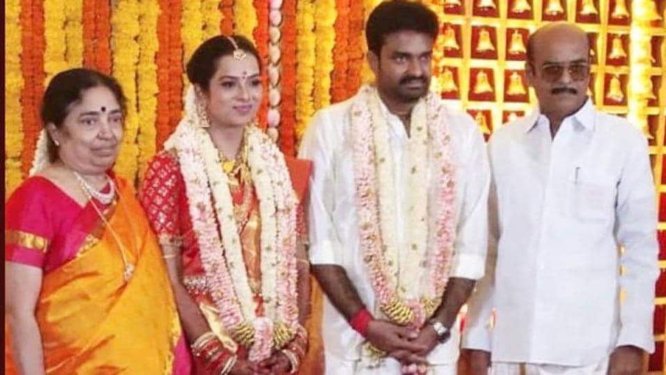 AL Vijay and Dr R Aishwarya after their wedding in Chennai.