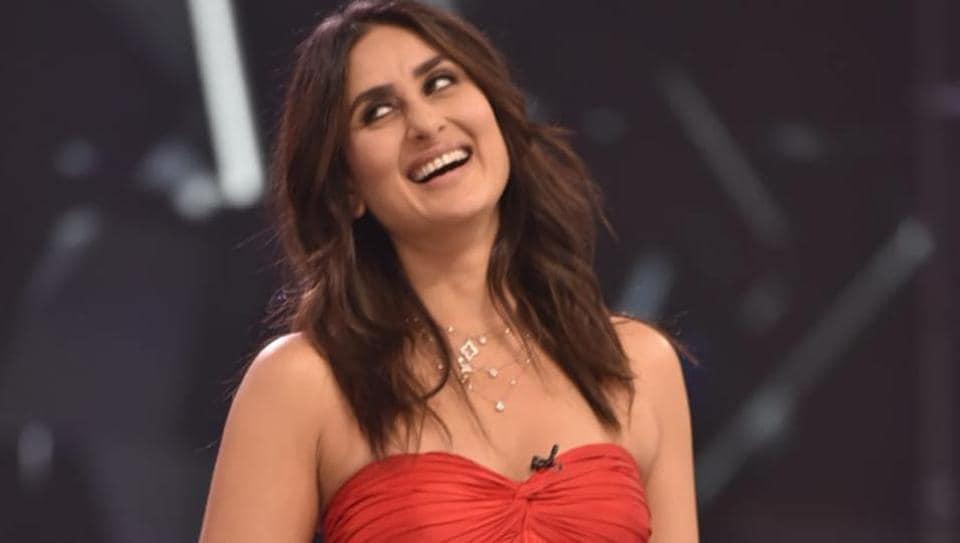 Kareena Kapoor Khan stuns in a red ensemble on a TV show set.