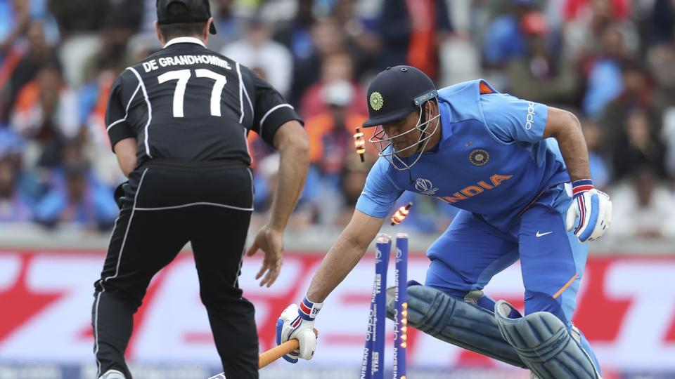 India's Mahendra Singh Dhoni is run out during the Cricket World Cup semifinal match.