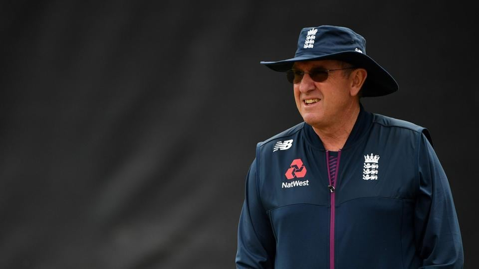 England's head coach Trevor Bayliss attends a training session at Edgbaston in Birmingham, central England on July 10, 2019, ahead of their 2019 Cricket World Cup semi-final match against Australia. (Photo by Paul ELLIS / AFP)