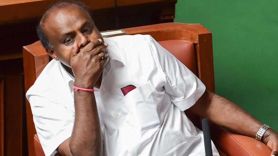 Karnataka political crisis: chief minister HD Kumaraswamy during the Assembly Session, at Vidhana Soudha in Bengaluru, Friday, July 12, 2019.