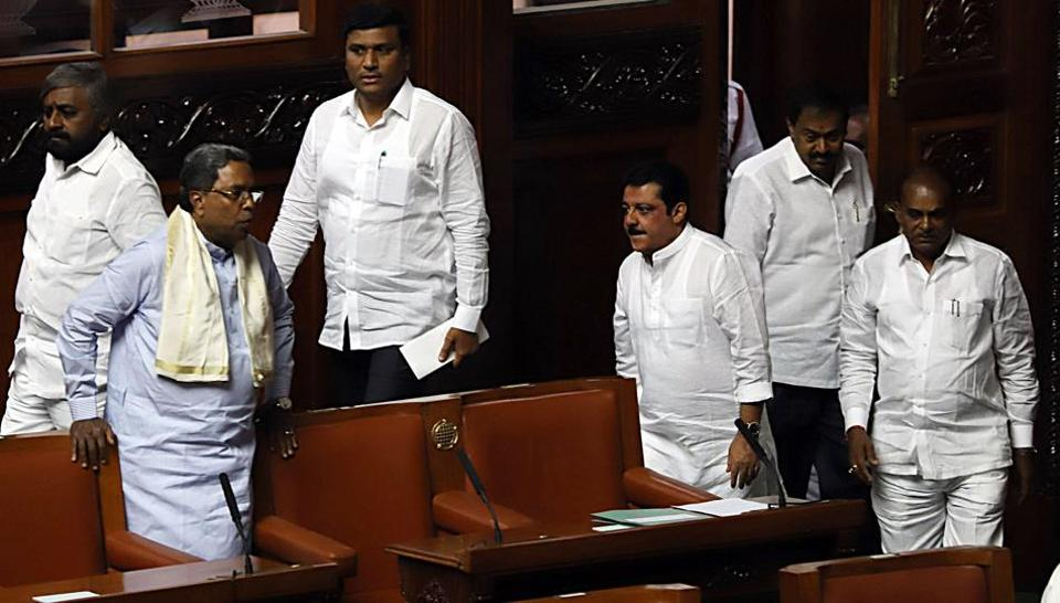 Karnataka political crisis: Former chief minister of Karnataka and Congress leader K. Siddaramaiah arrives along with other MLAs at the Karnataka Legislative Assembly in Bengaluru on Friday.