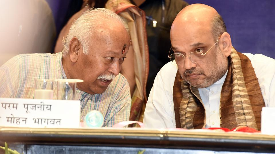 Rashtriya Swayamsevak Sangh Chief Mohan Bhagwat with BJP National Chief Amit Shah in an book launch event from 2017.