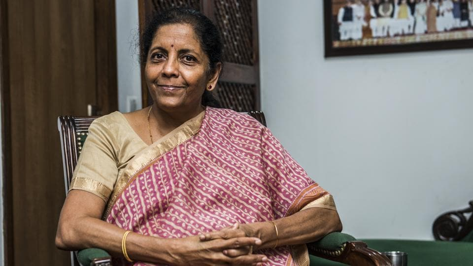 Finance minister Nirmala Sitharaman sat down with Hindustan Times to discuss the budget's vision for growth , photo:pradeep gaur/mint
