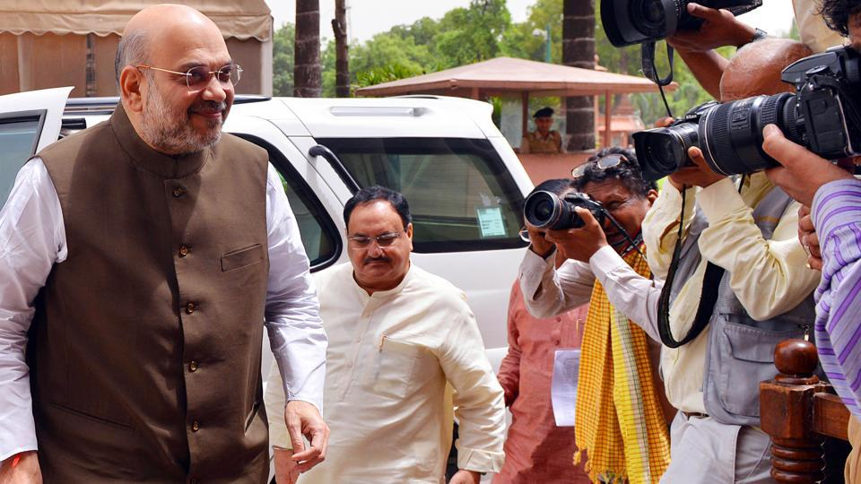 Union Home Minister Amit Shah and BJP National Working President JP Nadda arrive at the Parliament House during the Budget session in New Delhi on July 6, Thursday.