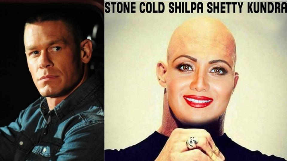 John Cena shared a morphed image of Shilpa Shetty on Instagram.