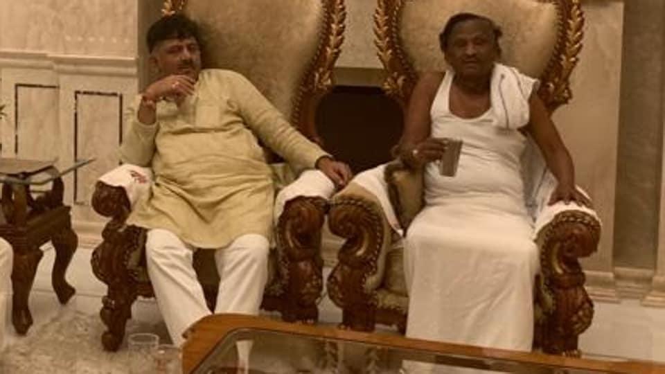 Karnataka, minister MTB Nagara at his residence in Bengaluru with Congress troubleshooter DKDShivakumar onSaturday.
