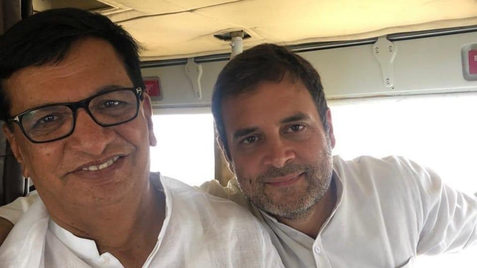 File picture of Balasaheb Thorat and outgoing Congress chief Rahul Gandhi. (Photo @bb_thorat)