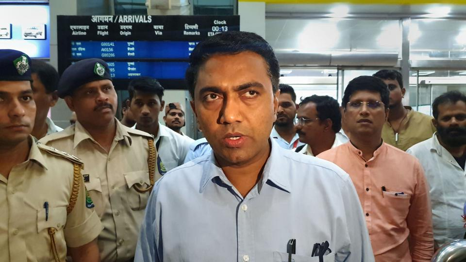Goa Chief minister Pramod Sawant at  Panaji  on his return from New Delhi where he had gone to finalise the ministerial berths in consultation with the BJP's central leadership.