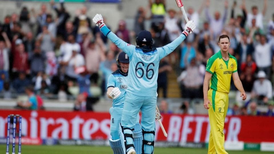 England's Eoin Morgan and Joe Root celebrate their victory over Australia in the semi-final of the 2019 ICC World Cup.