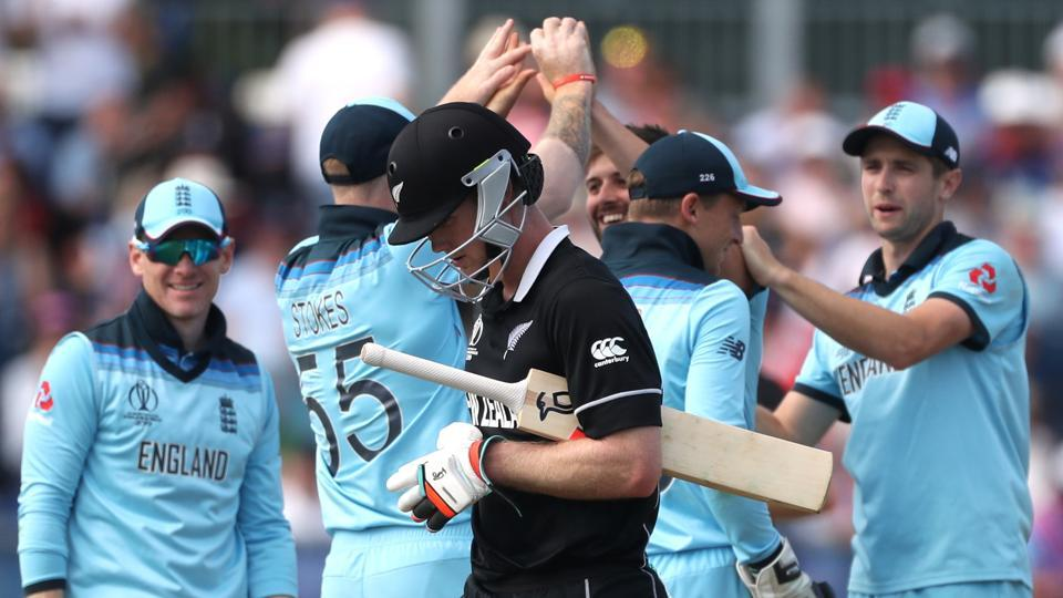 File image of England cricketers celebrating after the fall of a wicket.