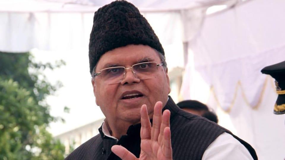 Jammu and Kashmir governor Satya Pal Malik in Jammu.(HT File Photo)