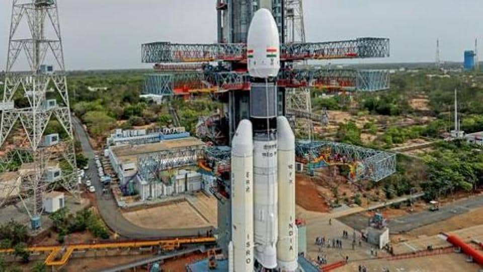 Sriharikota: In this picture released by ISRO Thursday, July 11, 2019, the Geosynchronous Satellite Launch Vehicle Mark III (GSLV Mk 3) or 'Bahubali' is seen at the second launch pad ahead of the launch of Chandrayaan-2, in Sriharikota.