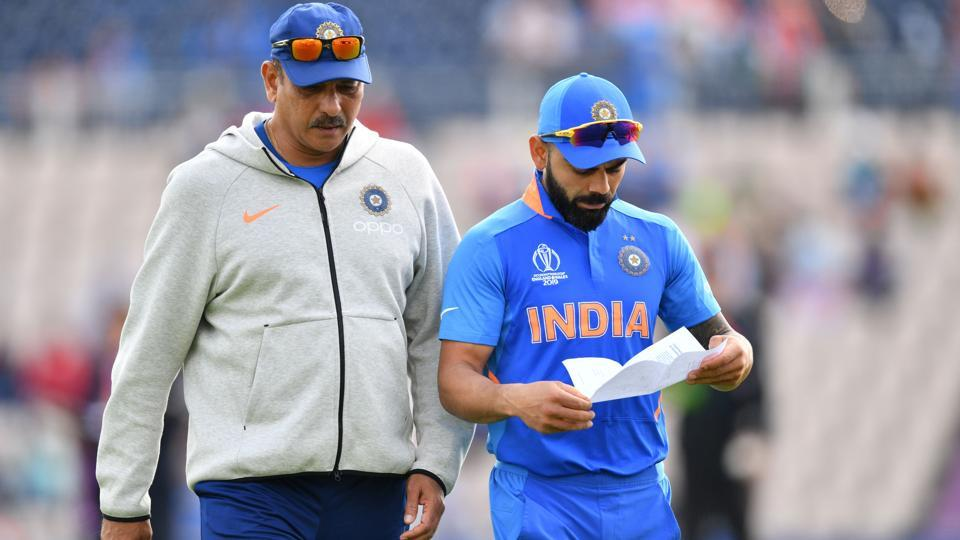 India's captain Virat Kohli and head coach Ravi Shastri at the 2019 Cricket World Cup in Southampton.