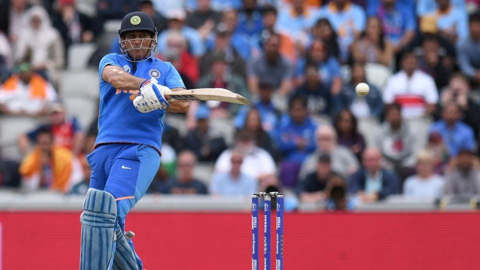India's Mahendra Singh Dhoni plays a shot during the 2019 Cricket World Cup first semi-final.