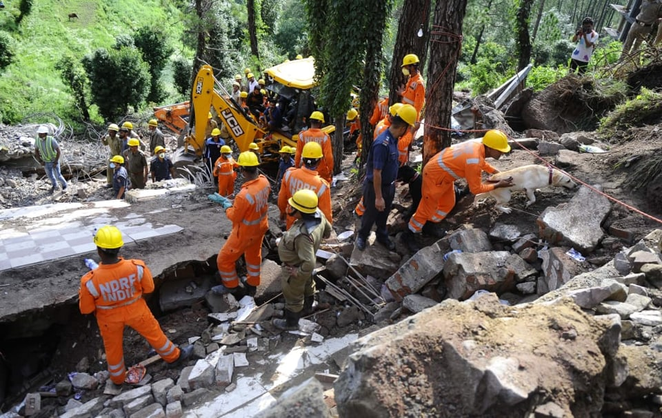 Bodies of 13 Army personnel of the 4 Assam Regiment from nearby Dagshai Cantonment and a civilian were extricated from the debris, officials said Monday.