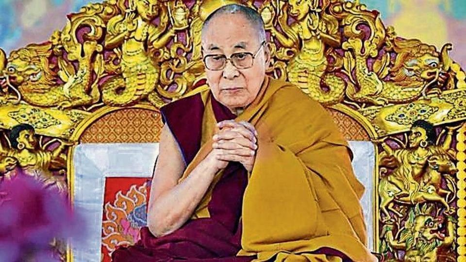 The Dalai Lama addresses a gathering in Bodh Gaya in Dec 2018.
