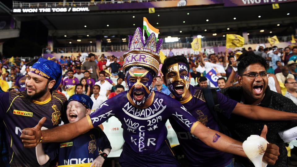 Kolkata Knight Riders's fans cheer for the team during the 2019 Indian Premier League.