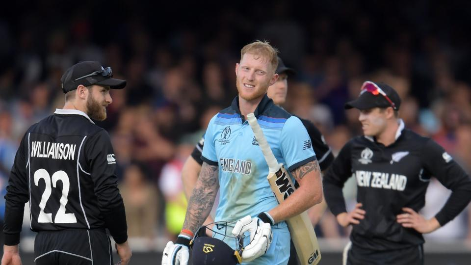 England's Ben Stokes (C) reacts ahead of a 'super over' during the 2019 Cricket World Cup final.