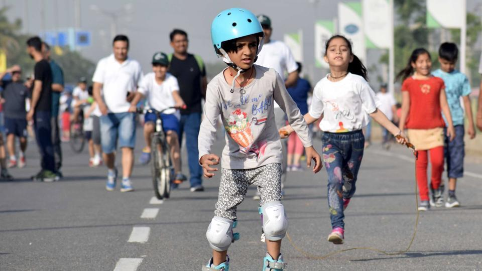 A boy skates during Raahgiri Day, an event organised by MCG and DLF in Gurugram in April 2019.