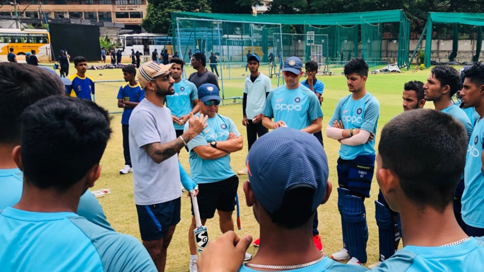 A Shikhar Dhawan pep talk for U19 squad at NCA before ODI tri-series in England
