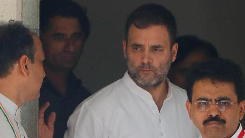 Congress leader Rahul Gandhi leaves after appearing before a metropolitan magistrate's court in the hearing of a defamation case filed against him by Ahmedabad District Cooperative Bank and its chairman Ajay Patel, in Ahmedabad, on July 12.