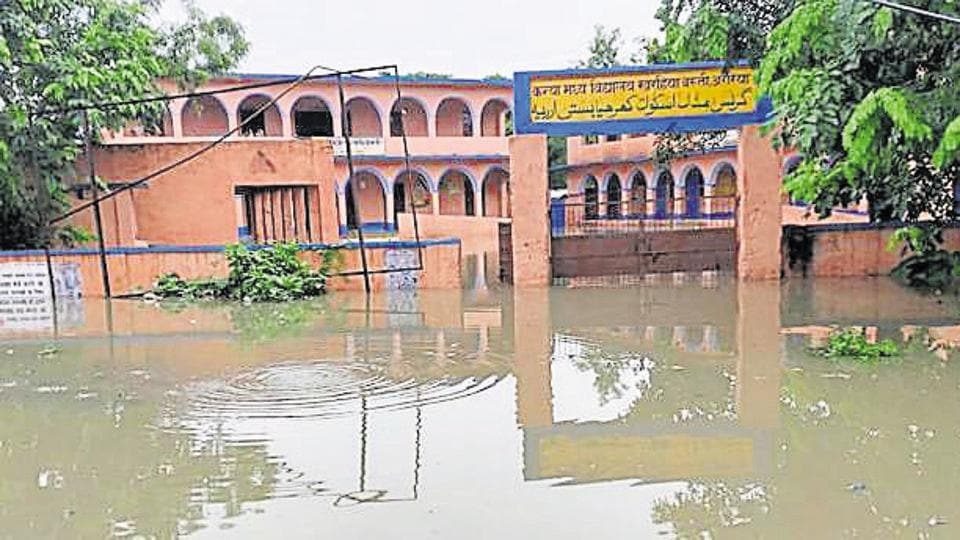 A school building submerged in flood waters in Araria, Bihar.