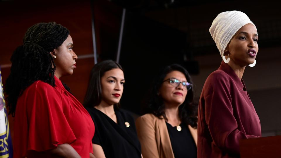 U.S. Reps Ayanna Pressley (D-MA), Alexandria Ocasio-Cortez (D-NY), Rashida Tlaib (D-MI) and Ilhan Omar (D-MN) hold a news conference after Democrats in the U.S. Congress moved to formally condemn President Donald Trump's attacks on the four minority congresswomen.
