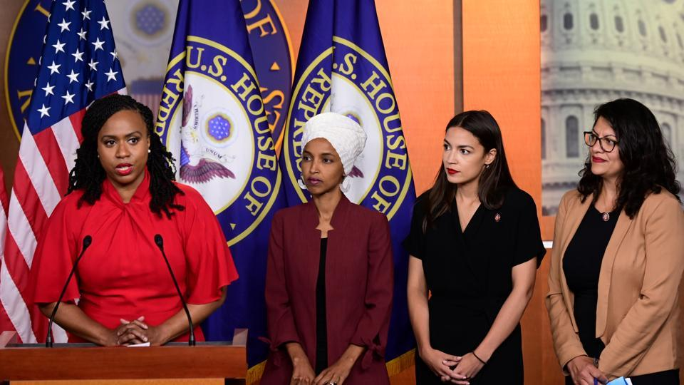 U.S. Reps Ayanna Pressley (D-MA), Ilhan Omar (D-MN), Alexandria Ocasio-Cortez (D-NY) and Rashida Tlaib (D-MI) hold a news conference after Democrats in the U.S. Congress moved to formally condemn President Donald Trump's attacks on the four minority congresswomen on Capitol Hill in Washington, U.S., July 15, 2019.