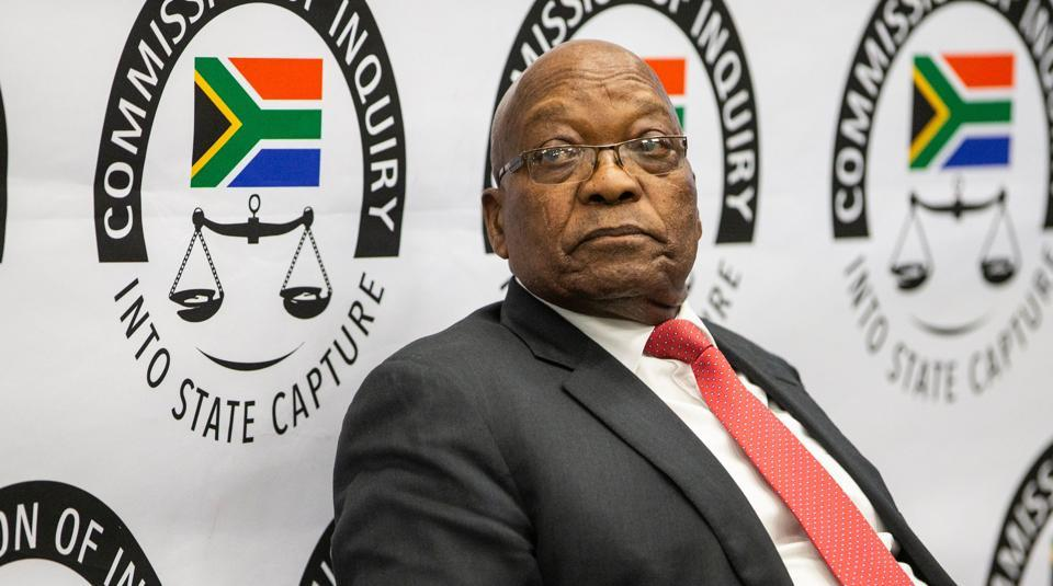 """Former South African president Jacob Zuma appears before the Commission of Inquiry into State Capture on July 15, 2019 in Johannesburg, where he faces tough questioning over allegations of """" state capture"""" during his rule."""