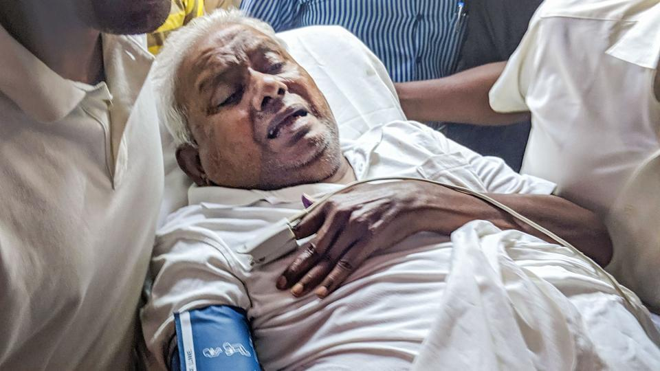 The founder of South Indian food chain Saravana Bhavan P Rajagopal  at his surrender in a Chennai court to serve a life term  for murder.