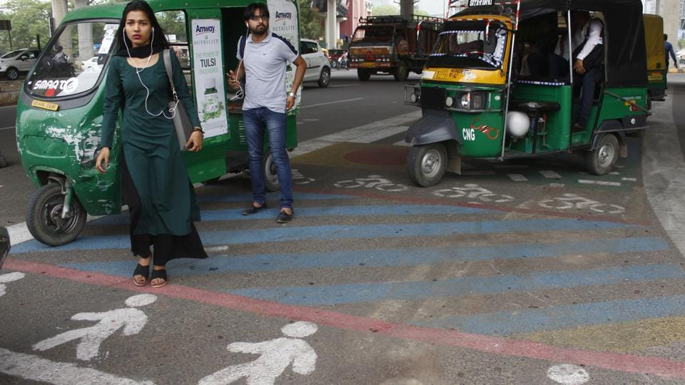 """Members of Raahgiri Foundation and Haryana Vision Zero designed a """"tactical urbanism solution"""" at Shankar Chowk to provide safe passage to about 10,000 pedestrians who use the junction every day."""