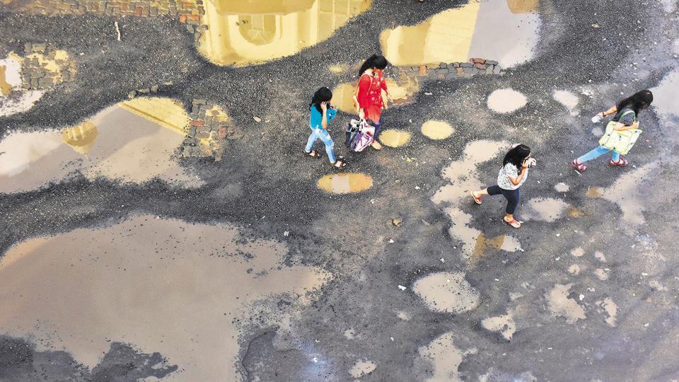Potholes near Bandra (West) bus stop.