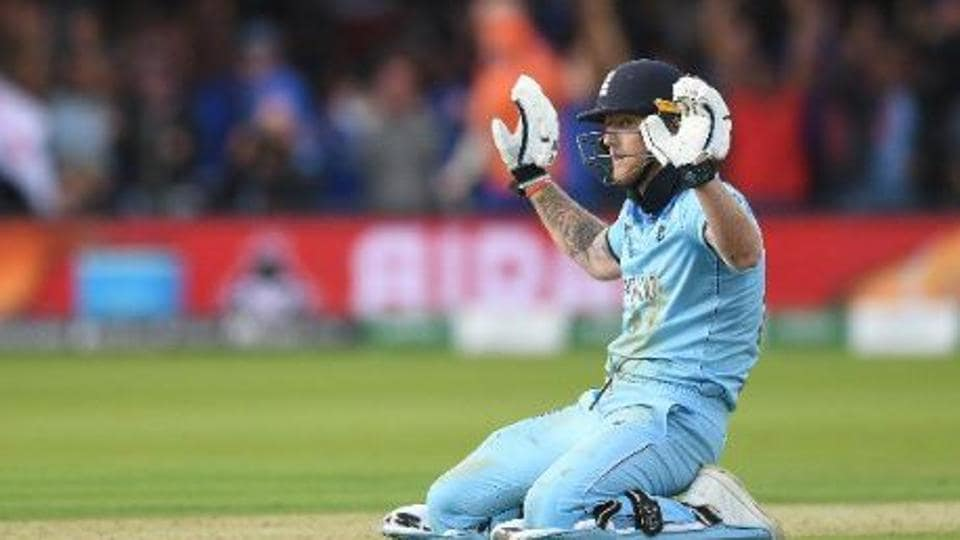 Ben Stokes puts his hand up after the ball ricocheted off his bat in the World Cup final