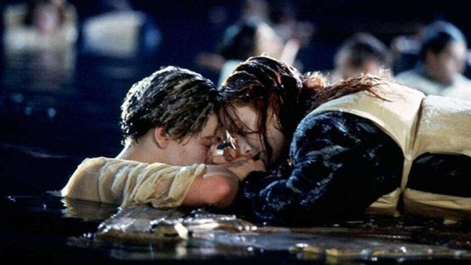 Leonardo DiCaprio and Kate Winslet in a still from Titanic.