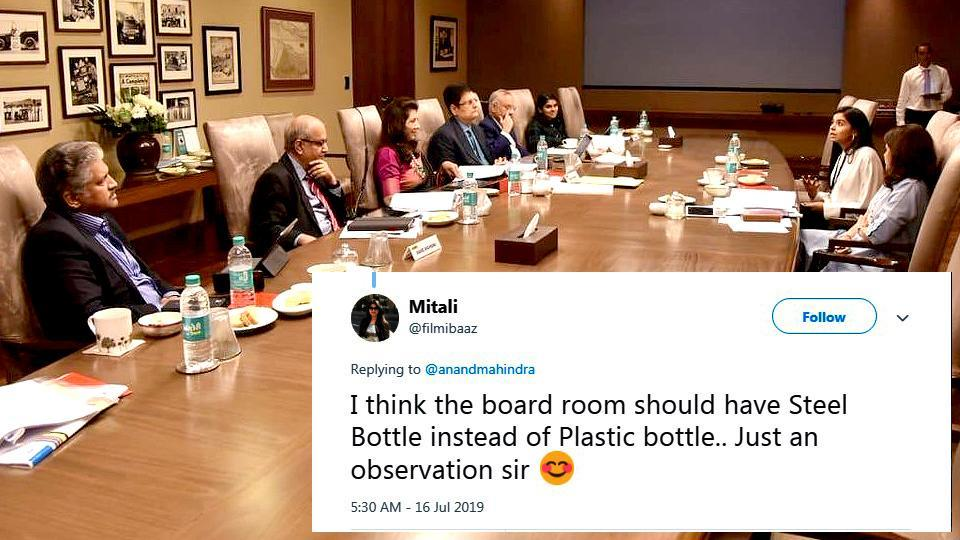 A Twitter user pointed at the plastic bottles kept in the boardroom, got a special response from Anand Mahindra.