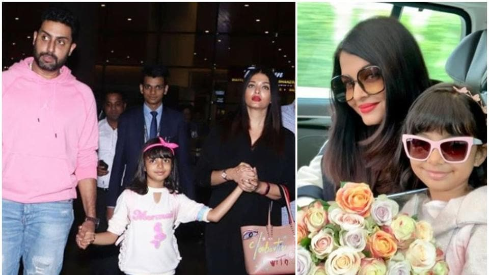 Aishwarya Rai has a protective arm around daughter Aaradhya as they return from US with Abhishek. Watch video
