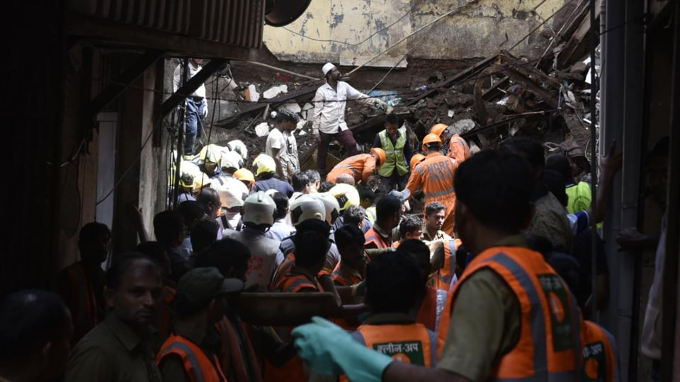 Rescue operation being carried out in south Mumbai's Dongri, Wednesday, July 17, 2019, after a four-storey building collapsed a day earlier.