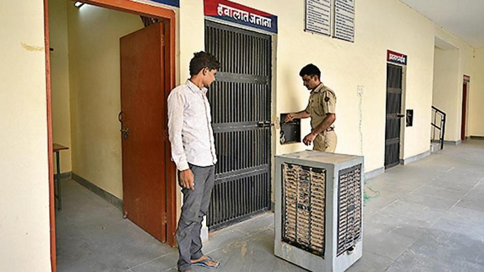 A cooler is seen outside a jail at Kalu police station at Bikaner district in Rajasthan, India, on Wednesday, July 3, 2019. (Photo by Biplov Bhuyan/ Hindustan Times)