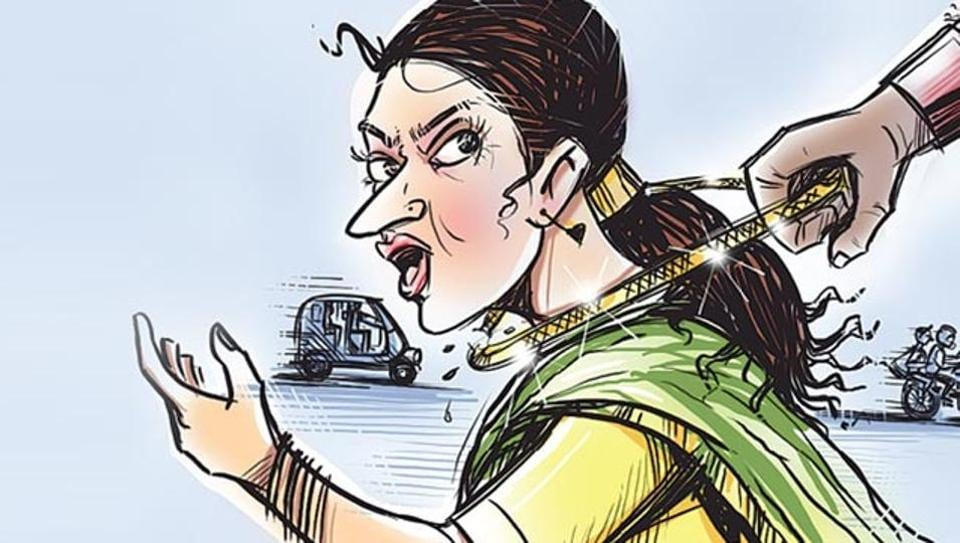 Two motorcycle-borne men allegedly snatched a woman's gold chain in Gandhi Nagar Colony near Gurugram Sector 11.