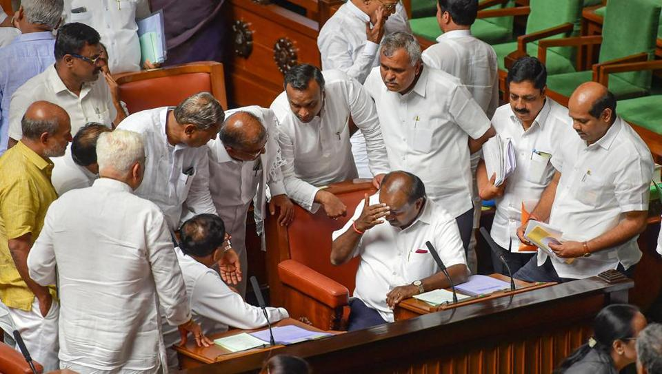 Karnataka crisis: Chief Minister H D Kumaraswamy during Assembly session on  July 15, 2019.