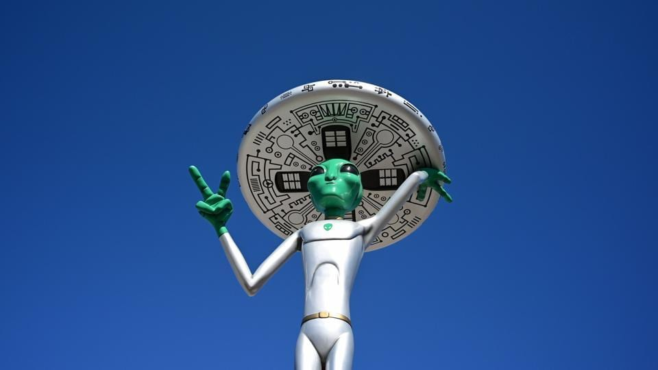 An Alien sculpture lines the side of the road in the town of Baker, California, known as the 'Gateway to Area 51.' -