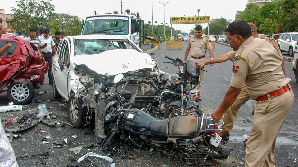 Mangled remains of vehicles that met with an accident near Birla Temple in Jaipur, Tuesday,  July 16, 2019.