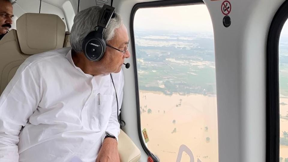 Bihar chief minister Nitish Kumar did an aerial view of flood situation of Bihar.