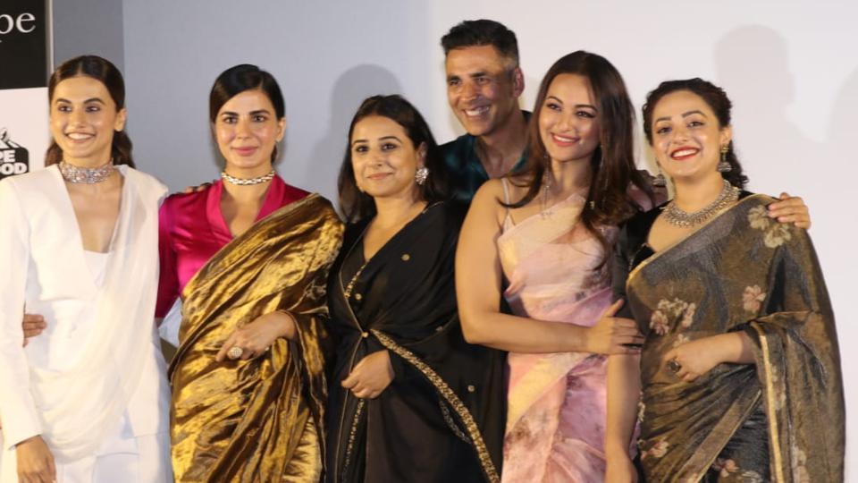 Taapsee Pannu, Kirti Kulhari, Vidya Balan, Akshay Kumar, Sonakshi Sinha and Nithya Menon at Mission Mangal trailer launch.