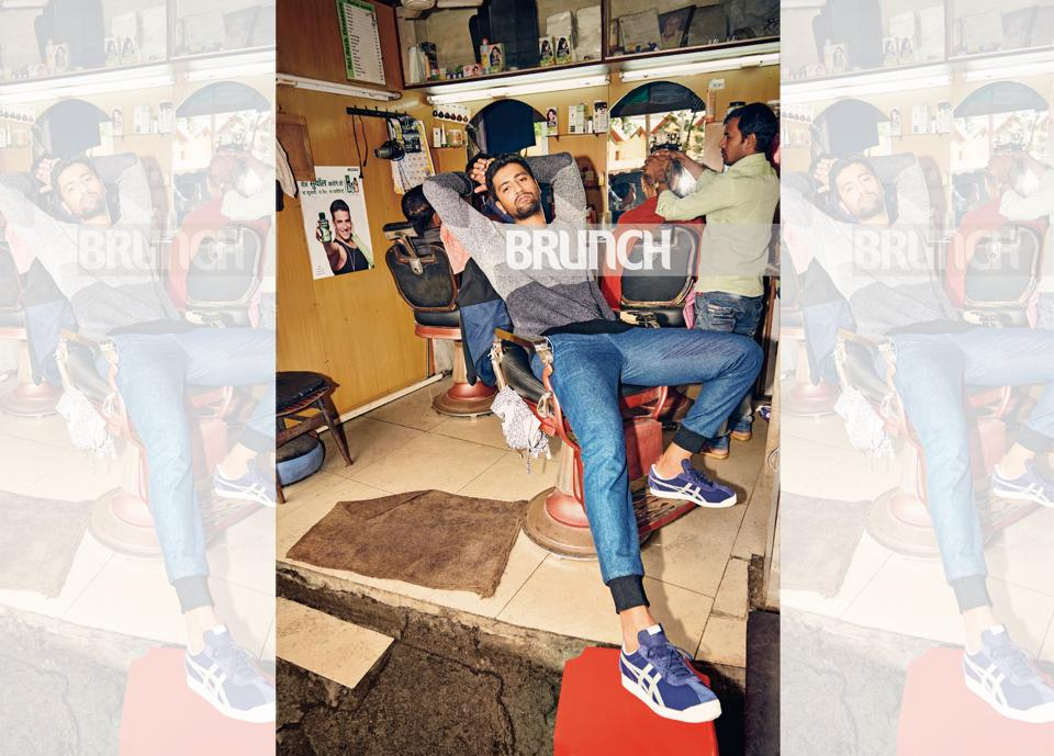 Vicky Kaushal has grown up in the suburb of Lokhandwala in Mumbai (Styling: Amandeep Kaur; styling assistants: Ria Rawlani & Mahek Sanghvi; make-up: Anil Ashok Sable; hair: Suaib (Hakim's Aalim); joggers, Bodice by Ruchika Sachdeva; striped knit, Selected; sneakers, Onitsuka Tiger)