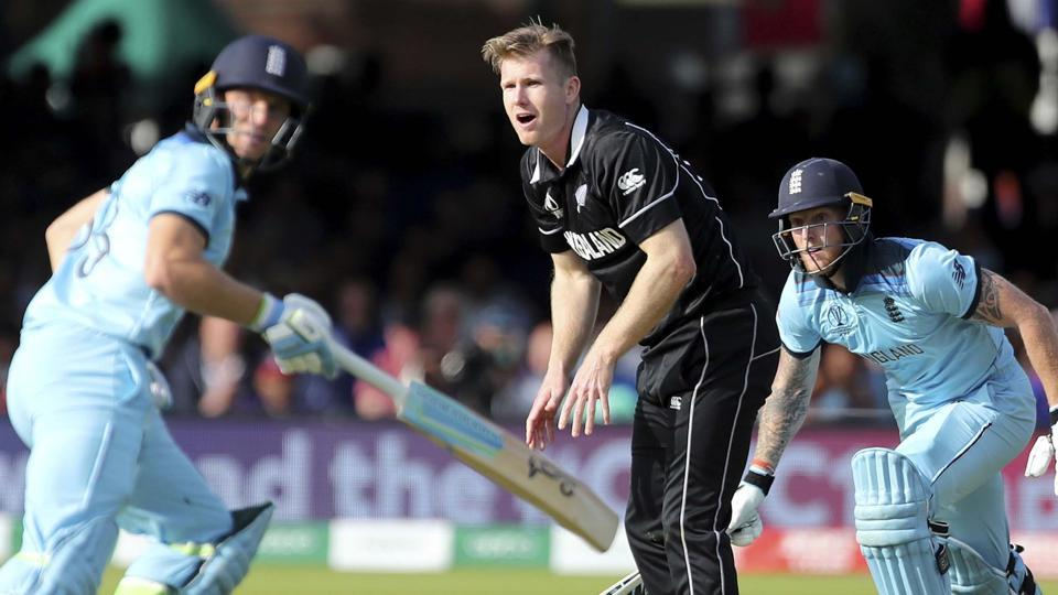 London: New Zealand's James Neesham, center, reacts as England's Jos Buttler, left, and Ben Stokes run between the wickets to score during the Cricket World Cup final match between England and New Zealand at Lord's cricket ground in London, England, Sunday, July 14, 2019. AP/PTI Photo(AP7_14_2019_000218B)
