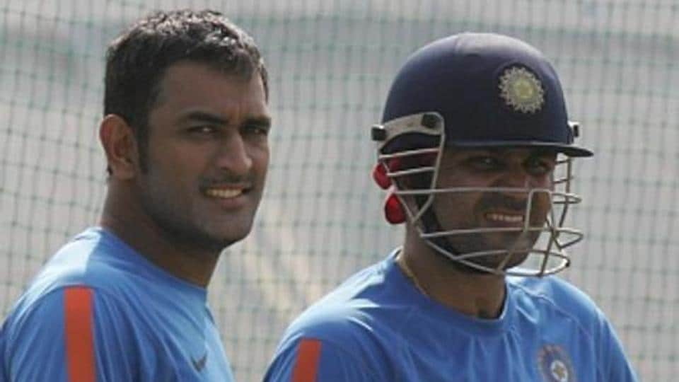 A file photo of MSDhoni (L) and Virender Sehwag.
