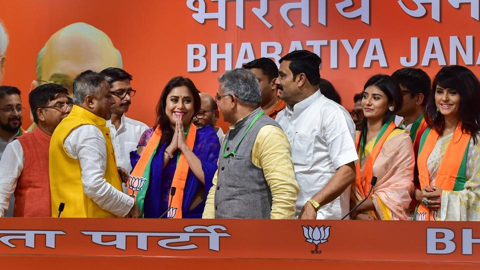West Bengal BJP chief Dilip Ghosh and party leader Rahul Sinha welcomes the Bengali actors into the party.