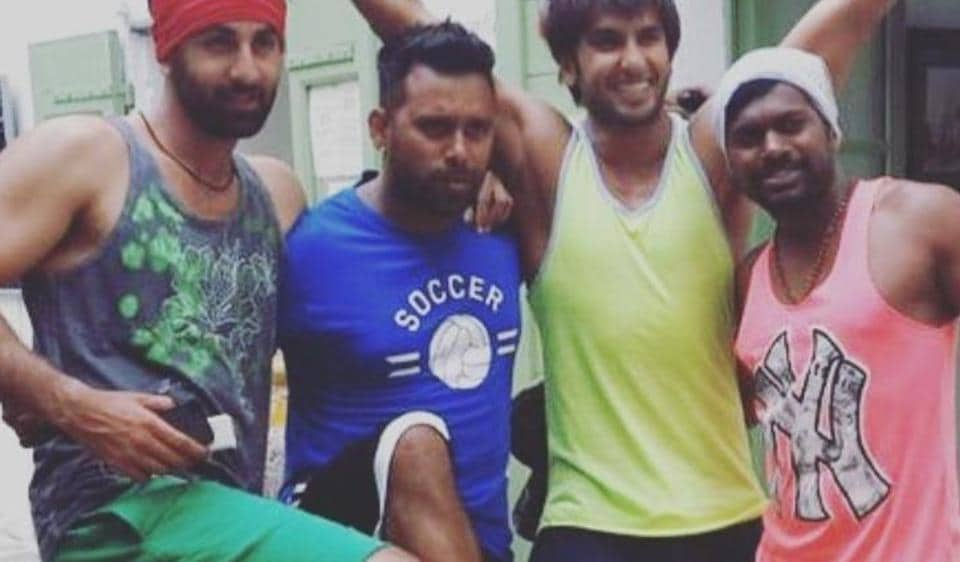 Ranbir Kapoor and Ranveer Singh pose candidly on the sets of Tamasha in Corsica.